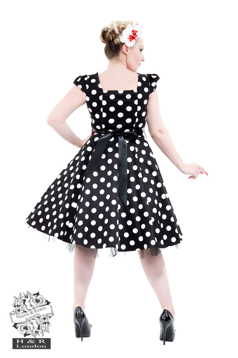 9df5303d09227 50's Vintage Big Polka Dot Tea Dress - Hearts & Roses London