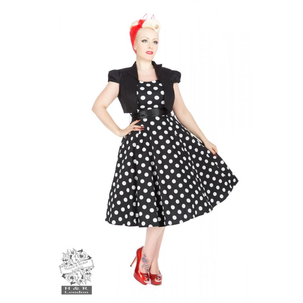 28b904d38e73d Vivian Black White Large Polka Dot Swing Dress & Bolero